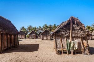 African huts in Ambohitsara, typical Betsimisaraka village along the  Pangalanes canal, eastern Madagascar