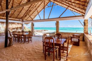 Restaurant on the beach overlooking the green lagoon in southwestern Madagascar
