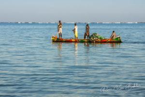Tsifota, Madagascar, June 08, 2017: Fishing scene of Malagasy fishermen of the Vezo ethnic group in the Ambatomilo lagoon in southwestern Madagascar
