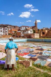 Séchage su linge à Antananarivo, Madagascar