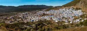 Vue panoramique sur la médina bleue de Chefchaouen, au nord du Maroc