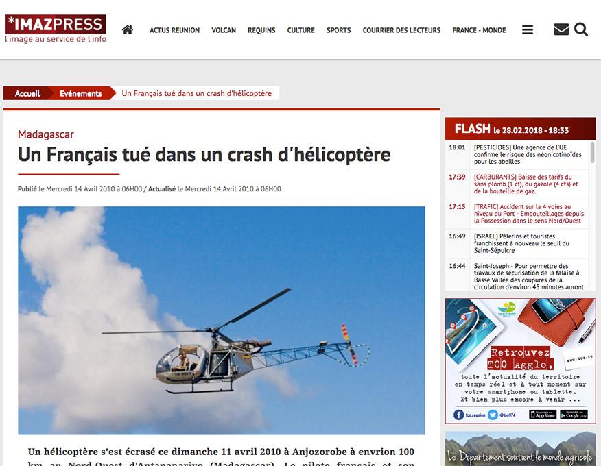 Imaz Press Reunion (IPR), article photo Pierre-Yves Babelon