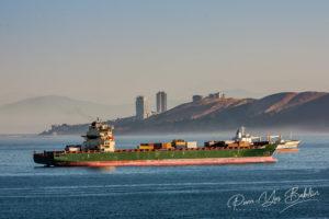 Navires porte-conteneurs amarrés, Baie de Valparaiso, Chili