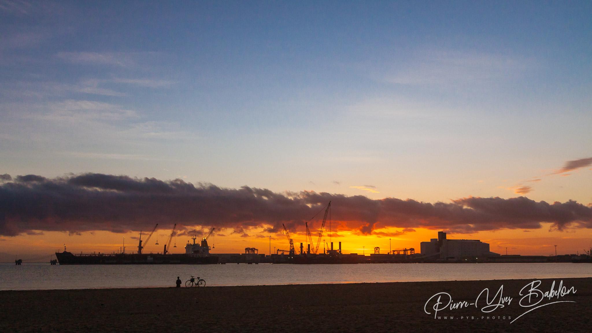 Sunrise on the port of Toamasina