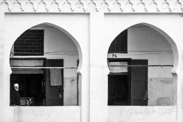 Commerçant des tisserands de Tanger, Maroc