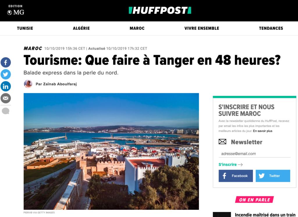 Huffpost Maroc, article Que faire à Tanger en 48 heures ?, photo Pierre-Yves Babelon