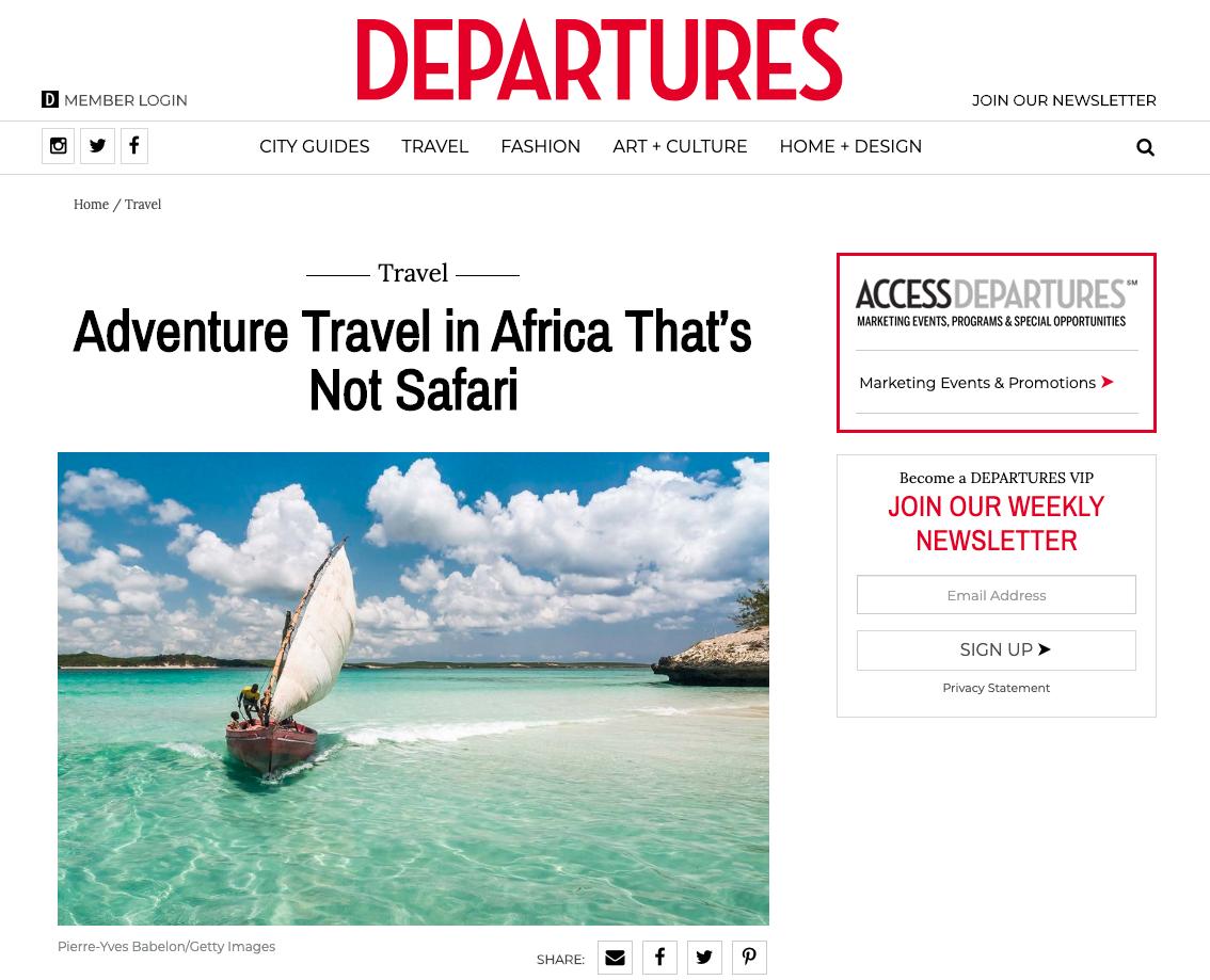 Departures : Adventure Travel in Africa That's Not Safari