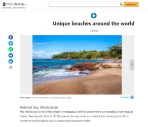 MSN News, uniques beaches around the world, photo Pierre-Yves Babelon