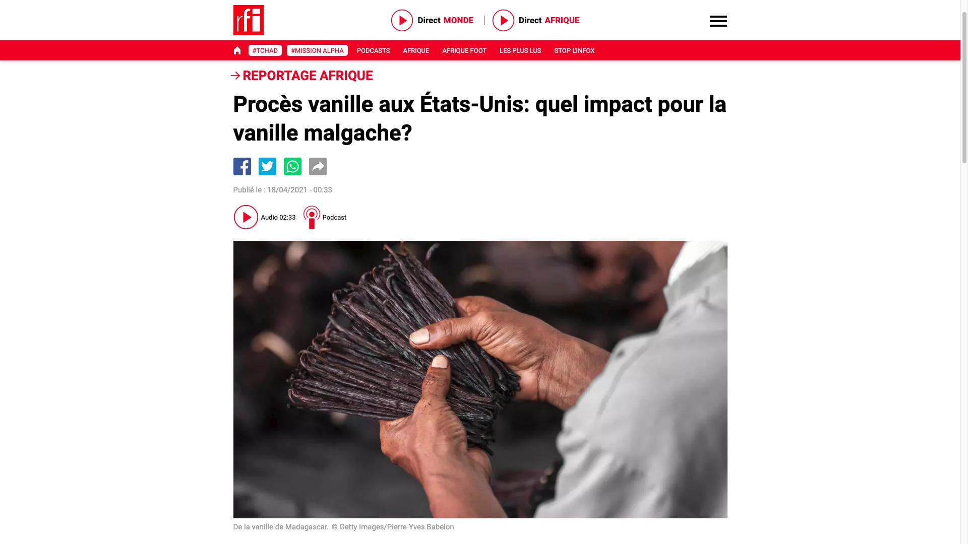 RFI Vanille malgache